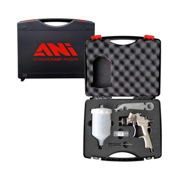 case 160 600x600 - ANI 160 CLEAR краскопульт c никелиевым корпусом и верхним пластиковым бачком 0,6л, дюза 1,4 в кейсе